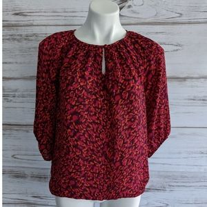 Loft Printed Red Blouse